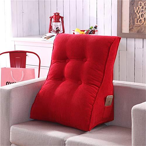 Nicole Knupfer Dreieckig Rückenkissen, Ergonomisches Lesekissen, Weich und Bequem Samt Rückenlehne Keilkissen Kissen für Bett Sofa Couch (55 x 60 cm,Rot)