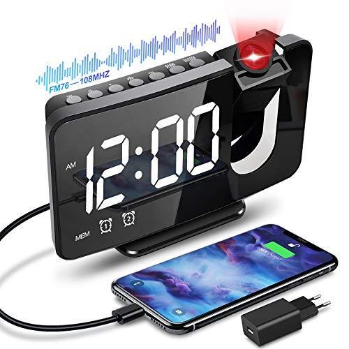 Anykuu Despertador Proyector Función de Radio FM Reloj Despertador Digital con Puerto USB 6.7' Pantalla LED Brillo de 3 Niveles Reloj Proyección Alarmas Dobles y Snooze para Casa Dormitorio Oficina