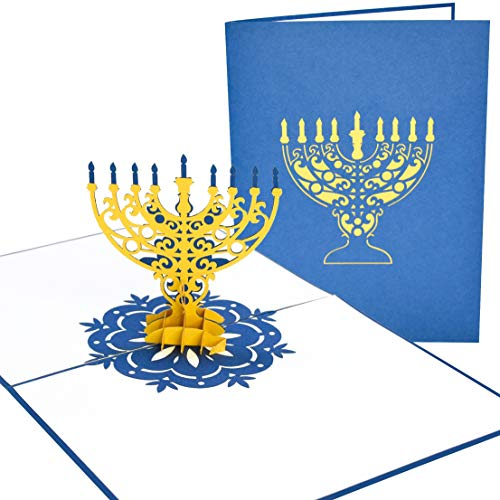 PopLife Hanukkah Menorah 3D Pop-Up Greeting Card - Happy Chanukah Holiday for Family and Friends - for Wife, for Grandma, for Aunt, for Boyfriend, for Rabbi