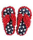 Lazy One Spa Flip-Flop Slippers for Women, Girls' Fuzzy House Slippers, USA, America, Flag (Small/Medium)