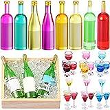 33 Botellas y Vasos de Vino de Casa de Muñecas en Miniatura Mini Copas de Cóctel Accesorios de Cocina Coloridos de Casas de Muñecas Topper de Pastel para Decoración Pastel Fiesta