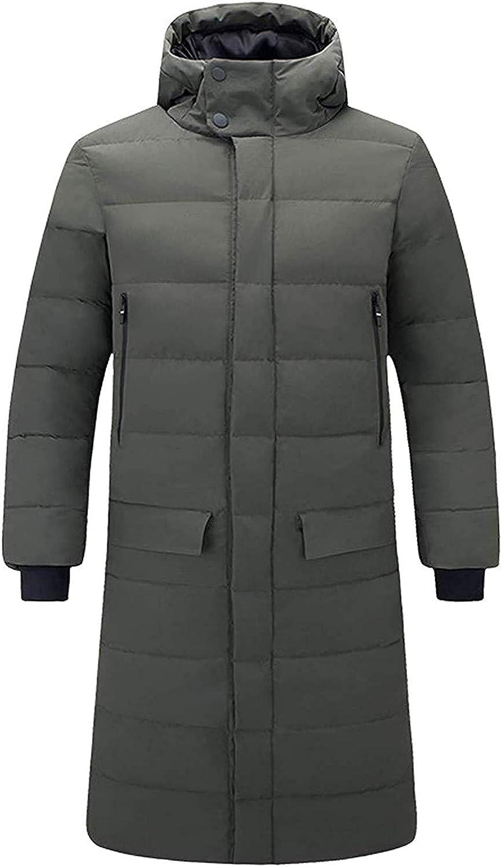 Zjeia Men's Winter Bidirectional Zip Quilted Water-Resistant Long Hooded Down Alternative Jacket Coat
