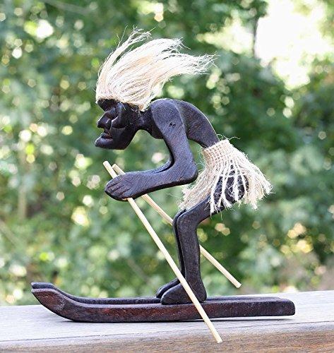 Handgefertigt aus Holz Primitiv Tribal Statue mit skiboards Snowboard Tiki Bar Handarbeit Home Decor Snowblades Geschenk