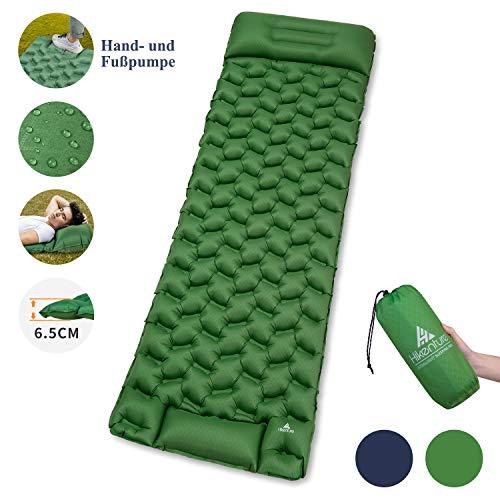 HIKENTURE Isomatte Camping Aufblasbar mit Kissen, Strapazierfähige Luftmatratze Kleines Packmaß, Ultraleichte Schlafmatte, Ideales Camping Zubehör für Outdoor, Wandern, Trekking- Grün mit Pume