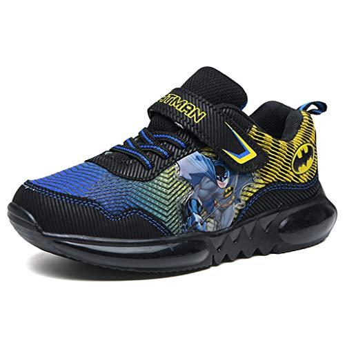 YEMAO Kinder Jungen Batman Turnschuhe Leichte Verschleißfeste rutschfeste Schuhe,Black/Yellow-34 EU