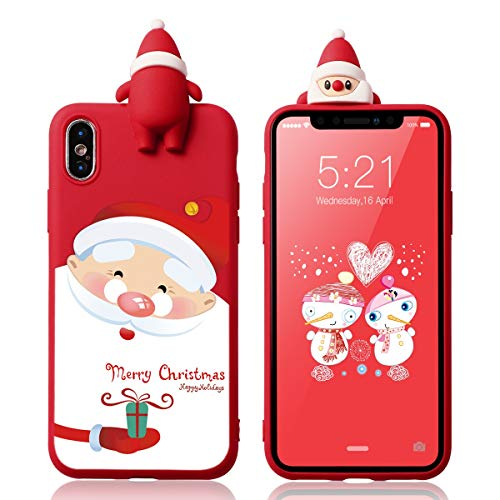 Yoedge Case for iPhone X/Xs Silicone 3D Cartoon Christmas Santa Claus Back Cover, Kids Girls Cool Cute Funny TPU Slim Fit Rubber Bumper Protective Shockproof Case for iPhone X/Xs, Red 4