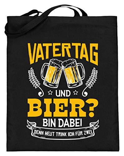 Values Tees Vatertag und Bier bin dabei denn Heute trink ich für Zwei - Jutebeutel (mit langen Henkeln) -38cm-42cm-Schwarz