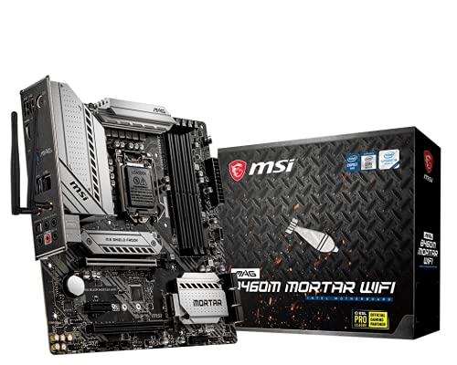 MSI - MAG B460M Mortar Wi-Fi - Scheda madre Arsenal Gaming (10th Gen Intel Core, LGA 1200 Socket, SLI/CF, doppio slot M.2, 2.5G LAN, Wi-Fi 6, DP/HDMI)