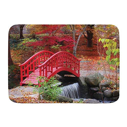 Fußmatten, japanischer asiatischer Garten mit Eiche farbige süße kleine Brückennatur im November Oktober Herbstansicht, Küchenboden Badteppichmatte Saugfähig Innenbadezimmer Dekor Fußmatte rutschfest