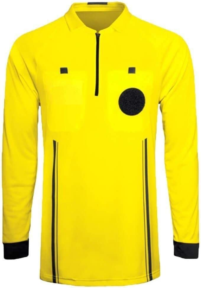 Referee Soccer Jersey Long Sleeves Yellow Red Green Blue Black