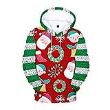 Camisa de bolsillo Unisex 3D Christmas Sudadera con capucha Feliz sudadera con capucha Suéter Moda Ropa de Navidad con capucha roja 0912 (Color : Green, Size : X-Small)