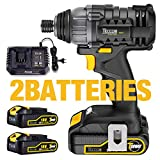 TECCPO Impact Driver, 18V Cordless Impact Driver, 180Nm High Torque, 2x 2.0Ah Batteries, 30 min Fast Charge, 4.0A Charger, 2900RPM Max Speed and 4000BPM, Variable Speed and 6.35mm Quick Chuck -TDID01P