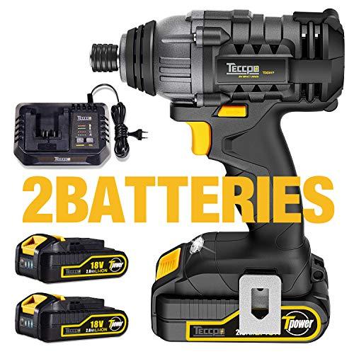 Atornillador de Impacto, TECCPO 180Nm Pistola de Impacto 18V, Velocidad Máxima de 2900 RPM, 2 Batería de 2.0Ah, Cargador Rápido de Media Hora y 6.35mm Portabrocas Rápido - TDID01P