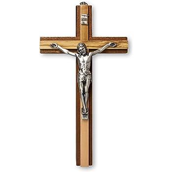 Biblegifts Crucifix Jésus sur croix en bois à suspendre avec symbole  religieux chrétien en acajou et bois d'olivier 15 cm: Amazon.fr: Cuisine &  Maison