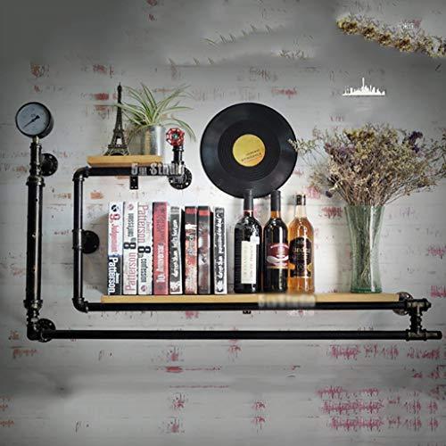 ZUQIEE Estante del vino, estante del vino, loft de hierro forjado tubo de madera maciza colgante de pared de vino estante de la barra del vino, soporte de exhibición