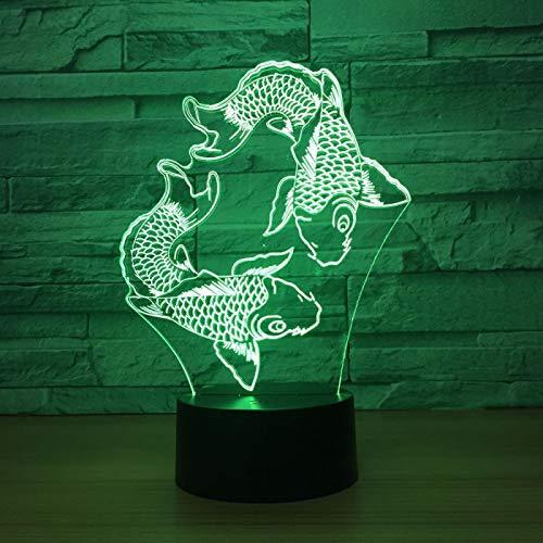 KangYD Luz nocturna3DDos peces nadando, Lámpara de ilusión óptica LED, F - Base de audio Bluetooth (5 colores), Lámpara de escritorio, Decoración del bar, Regalo de decoración