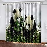 FACWAWF 2 Cortinas, Tela De Poliéster con Estampado De Panda De Impresión Digital 3D, Cortinas Opacas De Aislamiento Térmico para Sala De Estar, Dormitorio, Salón para Niños W184xH160cm(2pcs)