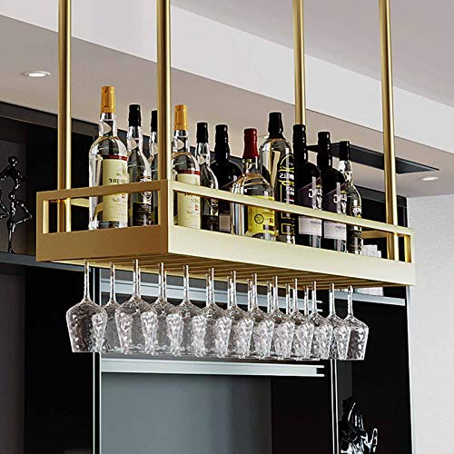 MYAOU Estante para Copas de Vino de Techo Que cuelga Debajo del Estante Soportes para Vasos Dorados Vitrinas de Vidrio de Hierro Forjado Estantes de Barra Modernos Estante de decoración