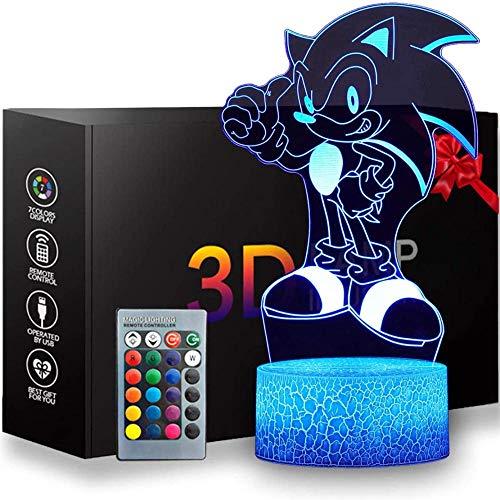 Luces de ilusión3D Lámpara LED luz de la noche 16 colores LED Touch lámpara para el Hogar Decoración para Niños Mejor RegaloErizo