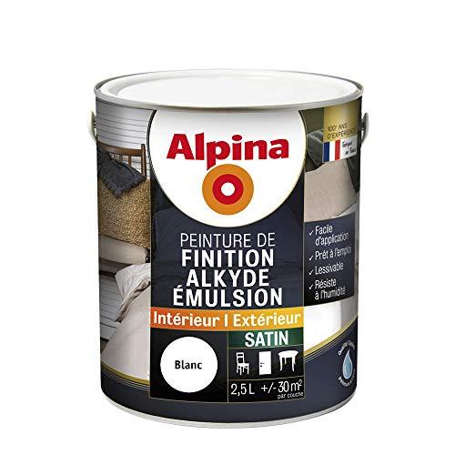ALPINA Peinture de finition - Alkyde émulsion - Satin Blanc 2,5L 30m²