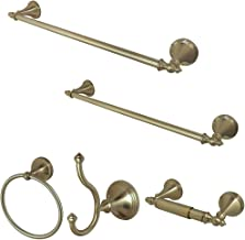 """Kingston Brass BAHK1612478SN Naples 5-Piece Accessory Set with 18"""" & 24"""" Towel Bar, Towel Ring, Robe Hook & Toilet Paper H..."""