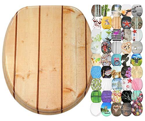 WC Sitz mit Absenkautomatik, große Auswahl, schöne Motive, hochwertige und stabile Qualität aus Holz (Cottage)