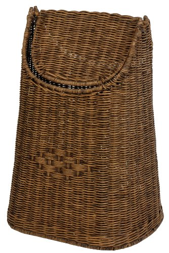 Waste-Paper basket made from wicker weave with Swing Lid Vintage Brown Colour, Free Shipping within Germany by korb.outlet