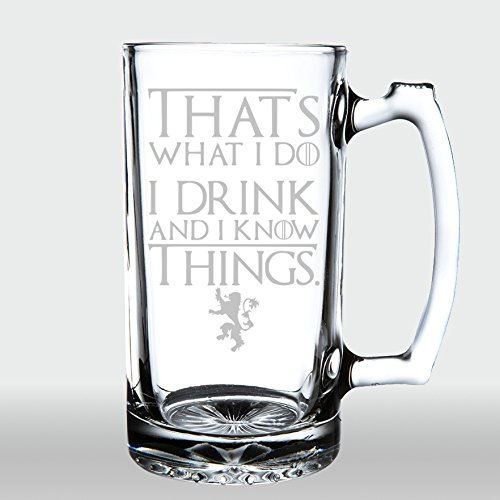 Game of Thrones - I Drink and I Know Things - Etched Large 28oz. Beer Mug