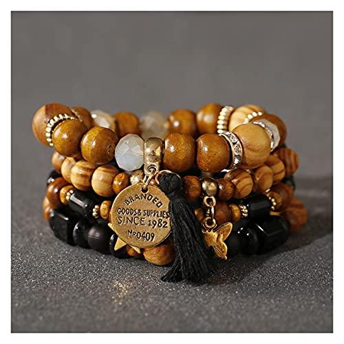 OCGDZ Pulseras de Estilo de Bohemia para Mujer Accesorios Beads de Madera Tassel Mujer Joyería Estrella Butterfly Charm Pulsera 4pcs / Set (Metal Color : HXB025 4)