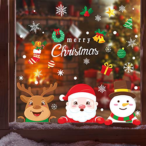 XIMISHOP 111 PCS Christmas Snowflake Window Cling Stickers for Glass, Xmas Decals Decorations Holiday Snowflake Santa Claus Reindeer Decals for Party