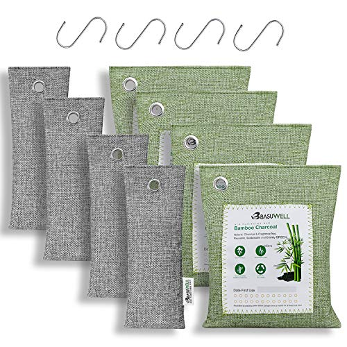 LDALAX Bamboo Charcoal Air Purifying Bags with 4 Hooks, Natural Charcoal Bags Odor Absorber for Home and Car (8 Pack - 4x200g+4x75g)