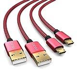 2X 4m câble de Chargement PS4 en Nylon pour contrôleur Playstation 4, câble Micro USB, câble de Chargement Micro USB, Micro USB, Gaine en Tissu, Prise en Aluminium, Rouge-Noir