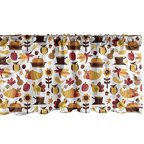 """Ambesonne Harvest Window Valance, Cartoon Fall Composition Nuts Maple Leaves Owls Roosters Pumpkins, Curtain Valance for Kitchen Bedroom Decor with Rod Pocket, 54"""" X 18"""", Orange Red"""