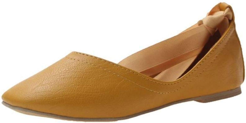 Unanshengenefi Flat-Soled Women's Single shoes, New Women's shoes, Laces, Ballet shoes, Square-Toed Spring shoes