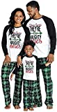 IFFEI Matching Family Pajamas Sets Christmas PJ's Letter Print Top and Plaid Bottom Sleepwear Jammies Men: XL