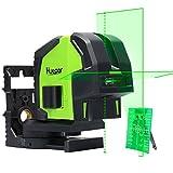 Huepar グリーン レーザー墨出し器 2ライン & 2ポイント 緑色 クロスラインレーザー 自動水平調整機能 高輝度 プロ用精度 ライン出射角130° ラインモード切替可能 地墨 鉛直ポイント 8211G