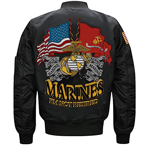 US Marine I'm Not Retired One A Marine Always A Marine MA-1 Flight Embroidered Bomber Jacket (Black, XXXL)