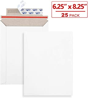 ValBox 6x8 Self Seal Rigid Photo Document Mailers 25 Pack Stay Flat White Cardboard Envelopes, 6.25 x 8.25 Inches