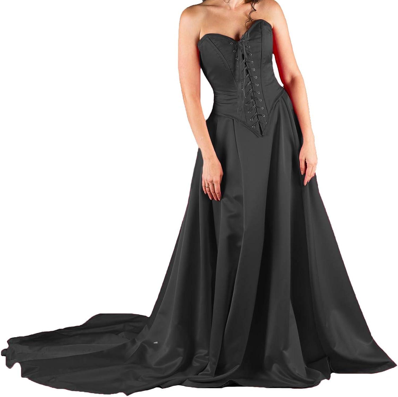 P.L.X Women Satin Long Vintage Retro Wedding Dresses Black Red Formal Ball Gown