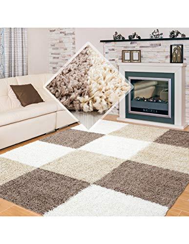 Carpet 1001 Shaggy, Pelo Largo Salón Shaggy Alfombra a Cuadros Marrón Blanco Beige - 200x290 cm