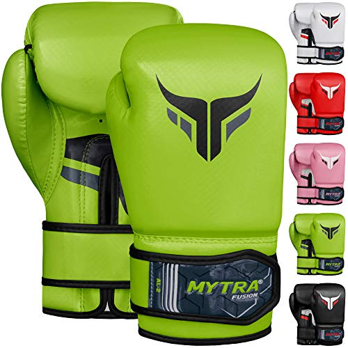 Mytra Fusion Kids Boxing Gloves Carbon AL2 (Green, 8OZ)