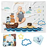 MomsWish Baby Milestone Blanket for BoysㅣCute Pirate Bear Sailing in Search of Treasure Island as Unique DesignㅣBaby Boy Monthly Milestone Blanket with PropsㅣGreat As Gift!