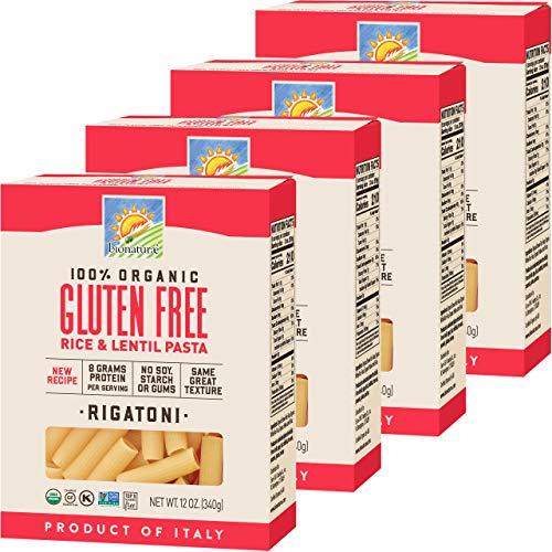 Bionaturae Rigatoni Gluten-Free Pasta | Rice and Lentil Rigatoni Pasta | Non-GMO | Lower Carb | Kosher | USDA Certified Organic | Made in Italy | 12 oz (4 Pack)