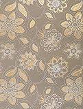 Handgefertigtes Dekorationspapier – 3 Blatt x – Dahlien-Print mit goldfarbenen Details – Beige – aus recycelter Baumwolle Geschenkpapier