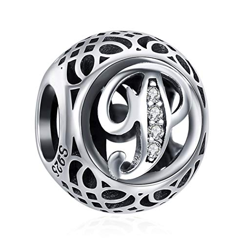 ChicSilver Initial P Letter Charms for Jewellery Making, Antique 925 Silver Personalized Name Jewelry Alphabet Bead Fits Necklace Bracelet