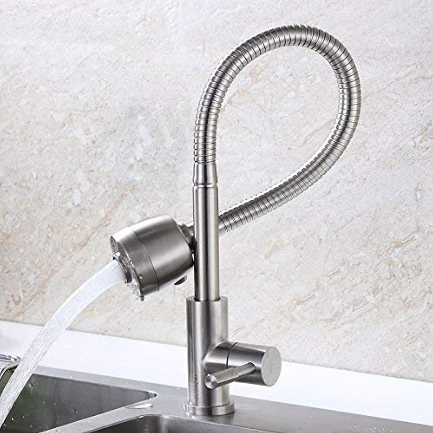 Oudan Basin Mixer Tap 304 Stainless Steel kitchen faucet single cold balcony basin sink dish washing basin of the brushed laundry pool B  Stainless steel single cold tap. (color   1)