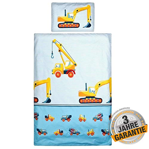 Aminata Kids - süßes Bettwäsche-Set Bagger-Motiv 100-x-135-cm, hell-blau, gelb - Jungen, Baustelle - Baby-Kinder-Bettwäsche aus Baumwolle mit Reißverschluss, mit Streifen & Betonmischer, Kran-Motiv