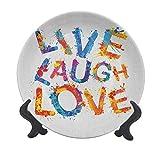 Live Laugh Love - Plato decorativo de cerámica para colgar (15,24 cm), diseño de letras con texto en inglés 'Joyous Delirious Grunge'