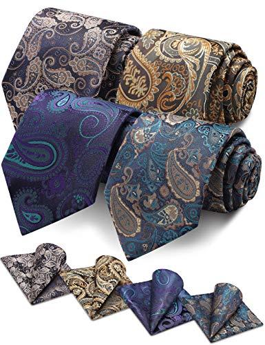 Vinlari Corbata Hombre Pañuelo Corbata Boda Conjunto Seda Pañuelo Negocio Elegante Estilo Casual Corbata(Azul + Azul oscuro + Morado + Amarillo)