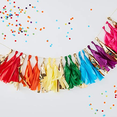 Ginger Ray Multi Coloured & Gold Tassel Garland Party Hanging Decoration Over The Rainbow